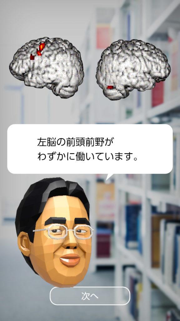 脳を鍛える大人のNintendo Switchトレーニング 左脳の前頭前野がわずかに働いています。