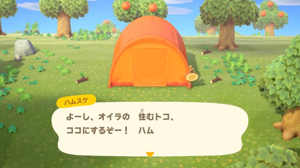 あつまれどうぶつの森 無人島到着 テント