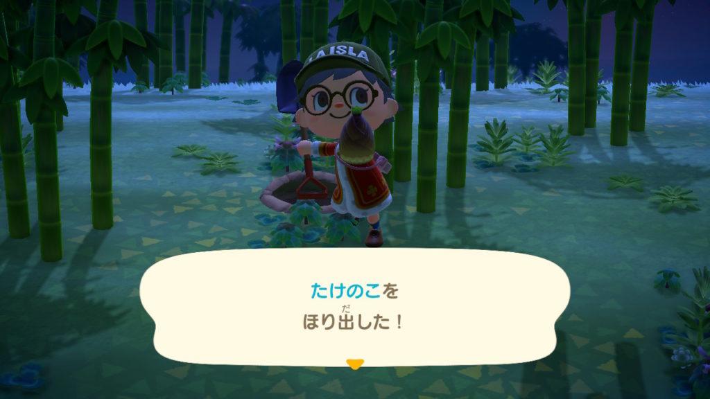 あつまれどうぶつの森 タケノコを掘り出した