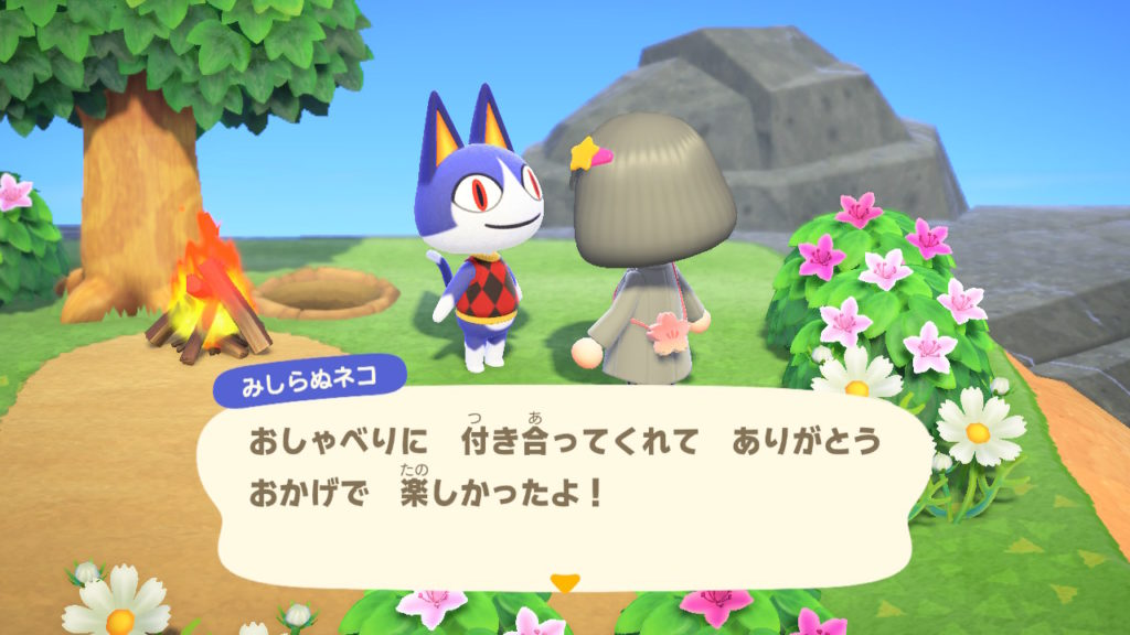 あつまれどうぶつの森 見知らぬネコ おしゃべりに付き合ってくれてありがとう。おかげで楽しかったよ!